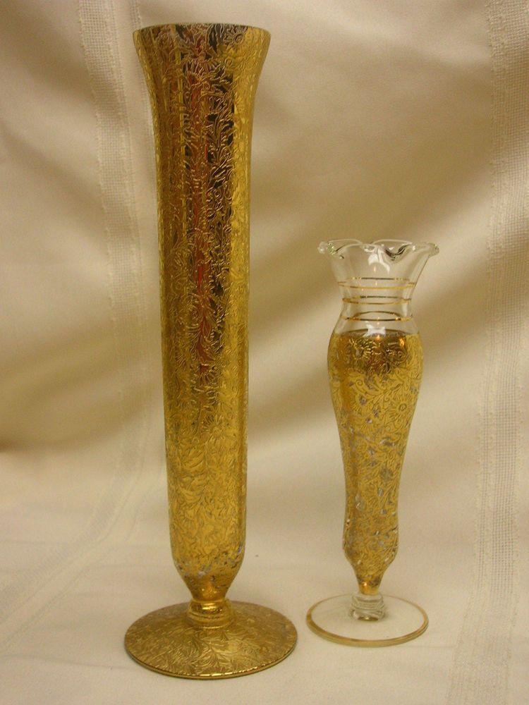 2 Vases Bud Vase 6 34 10 Gold Ornate Design Flowers Pinterest