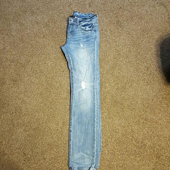 VS hipster straight leg jeans Victoria Secret hipster jeans, mid rise, straight leg and destroyed denim. Victoria's Secret Jeans Boyfriend