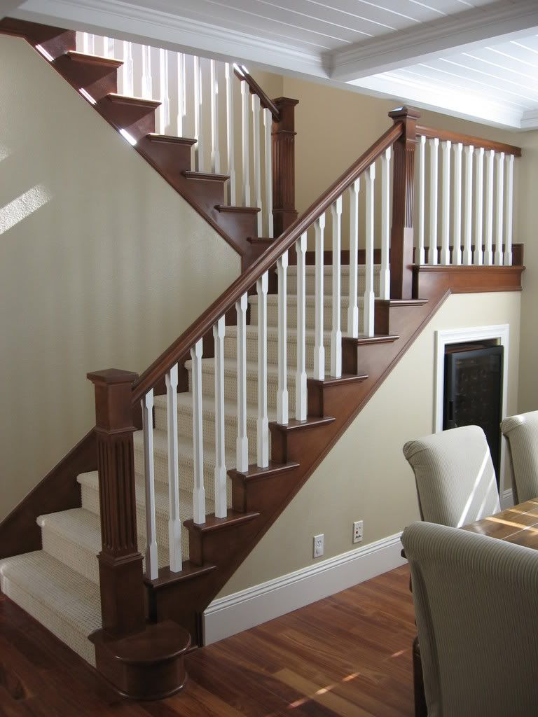 Maybe to update stair railing to complement mocha hardwood for Wood floor 90 degree turn