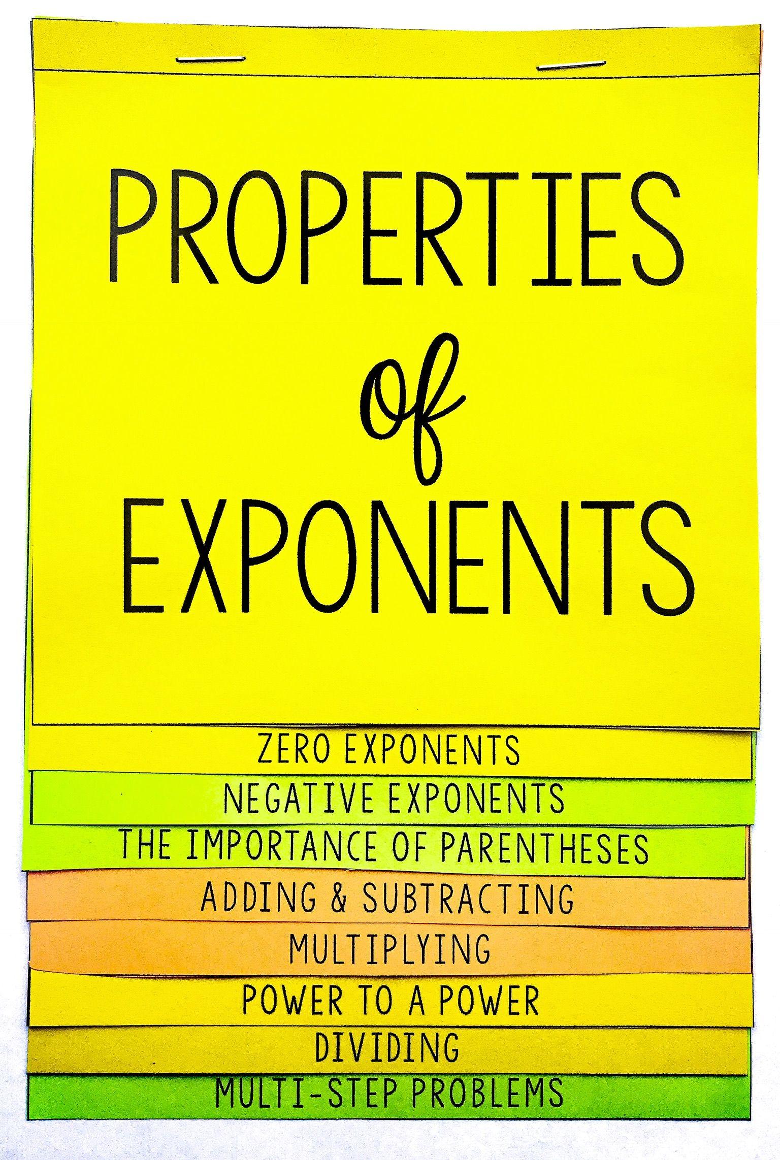 Properties Of Exponents Flip Book