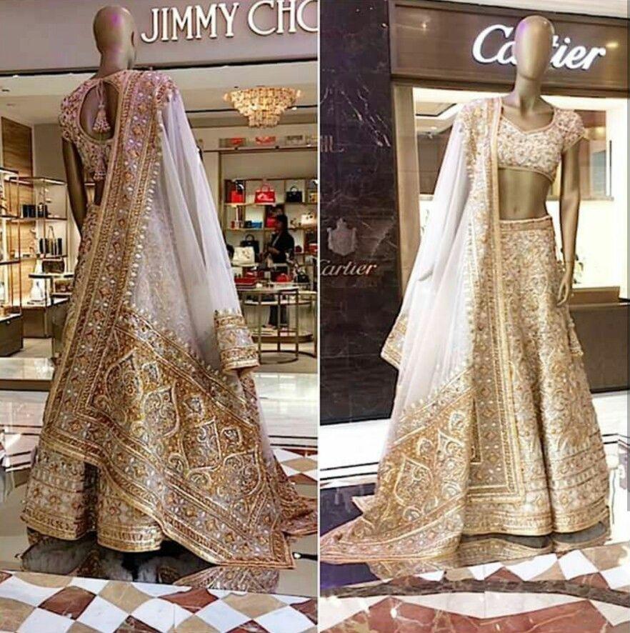 Absolutely Breathtaking White And Gold Bridal Lehenga