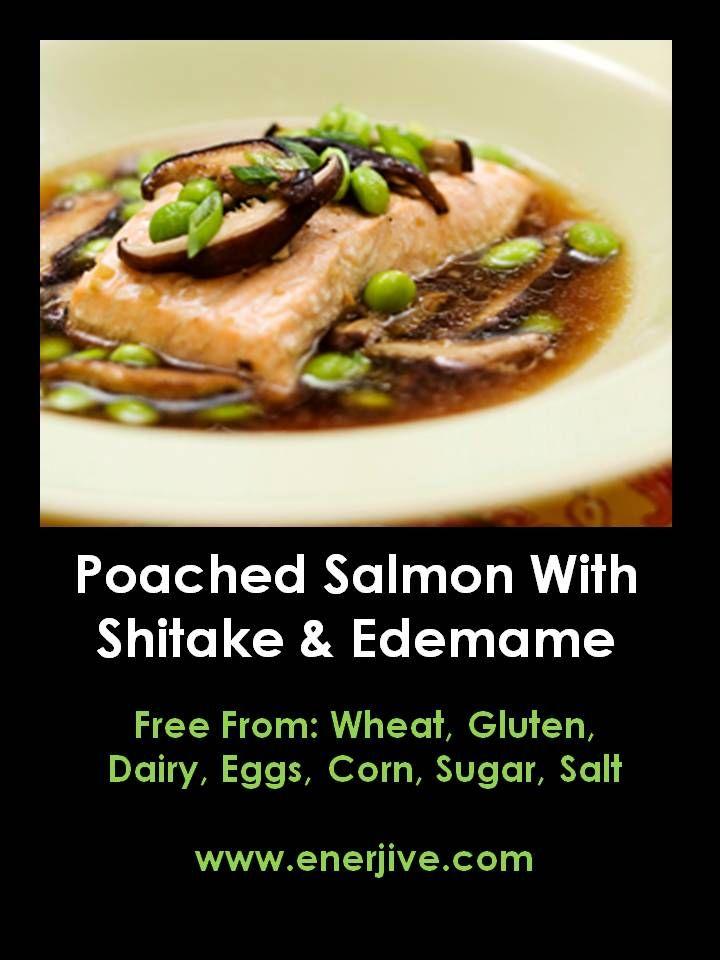 POACHED SALMON WITH SHITAKE AND EDEMAME