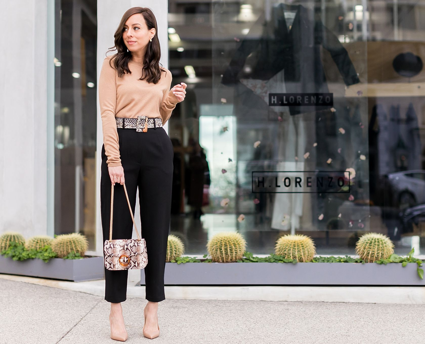 ed69c779d24d Sydne Style shows office outfit ideas in tan and black for classic style  #classic #python #snakeskin #louboutin @sydnesummer