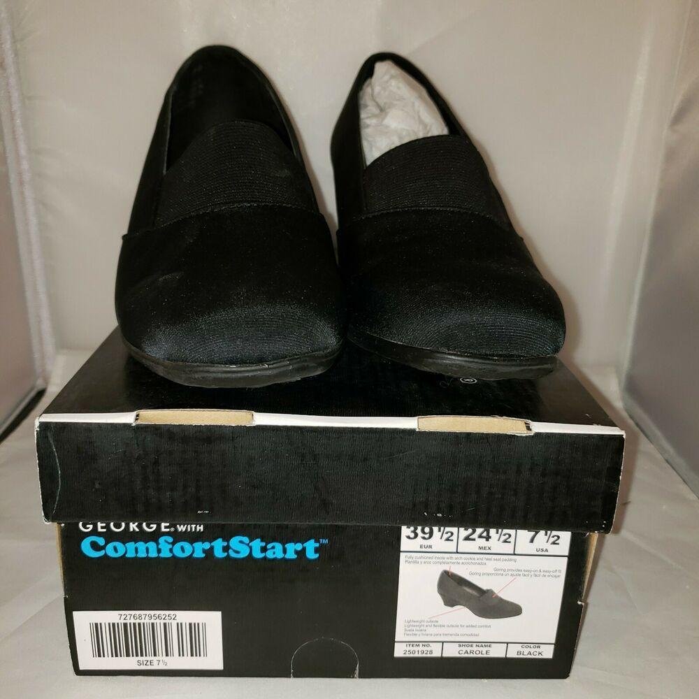 George Comfort Start Microfiber Womens Shoes Sz 7 5 Carole Black New In Box Ebay Black Shoes Women Black Mules Shoes Womens Low Heels [ 1000 x 1000 Pixel ]