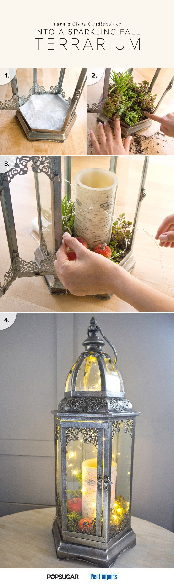 Turn a glass candle holder into a sparkling fall terrarium lantern