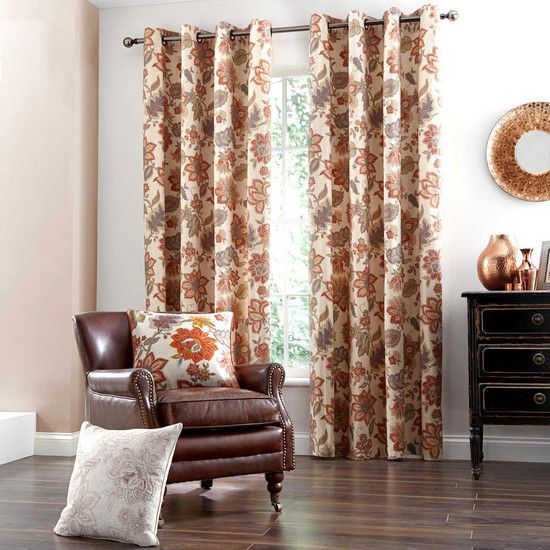 Natural jacobean eyelet curtain collection dunelm