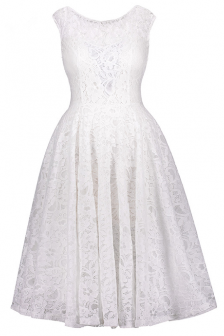 d3fa74fcec lace homecoming dresses white scoop neck sleeveless knee length a line dress  back bowknot cocktail short