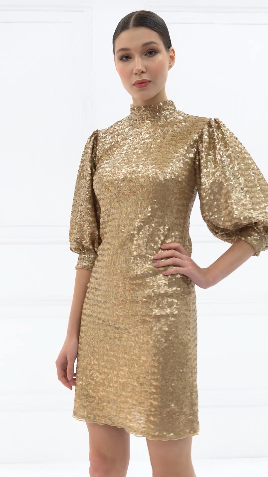 Turtle Neck Half Sleeve Caramel Mini Sequin Dress di 2020