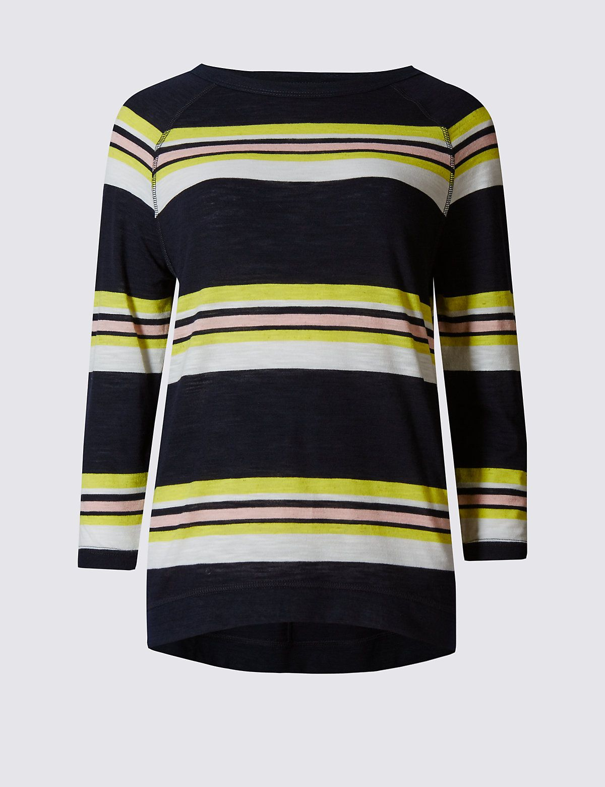 M&S Collection Striped 3/4 Sleeve T-Shirt: Cut for a relaxed, loose fit, choose your normal size.… #UK #Menswear #WomensFashion #KidsClothes