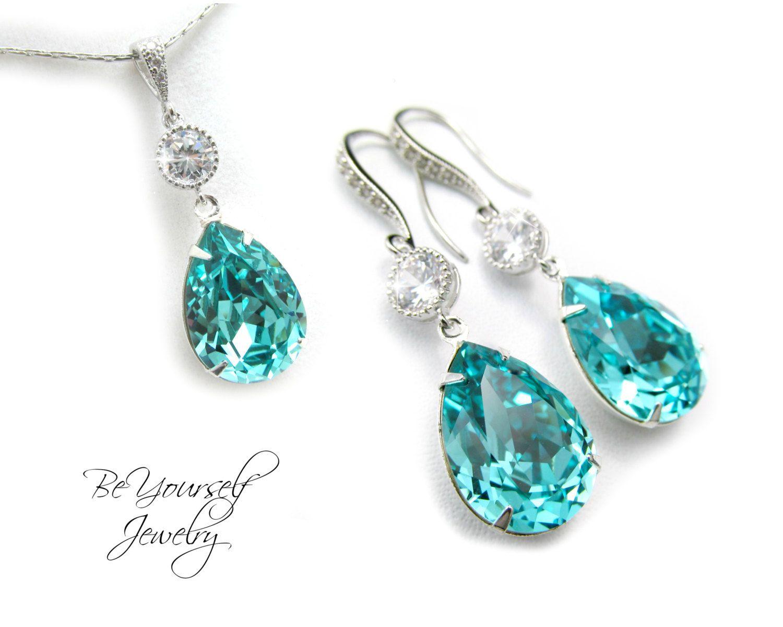 Teal Wedding Jewelry Sea Green Bridal Earrings Teardrop