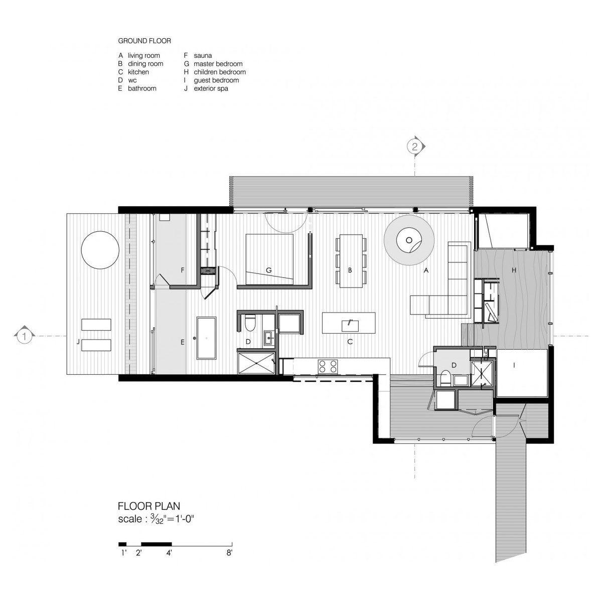 floor plan of la luge a modern ski cabin by yiacouvakis hamelin