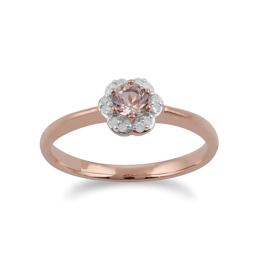 Gemondo 9ct Rose Gold 018ct Morganite Diamond Floral Ring