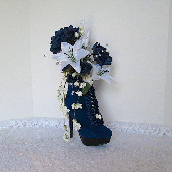 High Heel Shoe Flower Arrangement | Red Velvet High Heel Shoe Vase ...