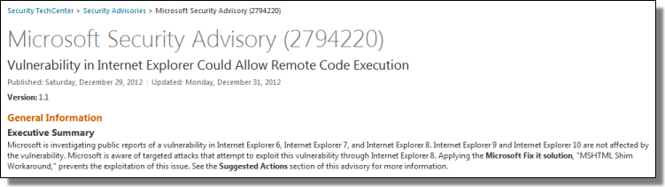 Fix it: Internet Explorer 8 Vulnerability