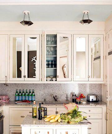 mirrored cabinet doors? hmmmm.. interesting!