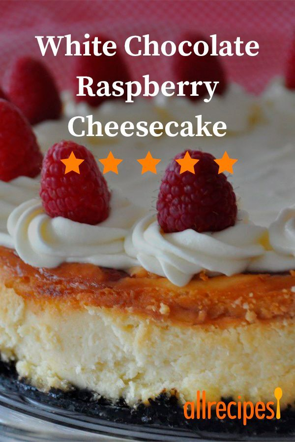 White Chocolate Raspberry Cheesecake White Chocolate Raspberry Cheesecake | Loved it. I'm making this for the THIRD time tonight! Everyone who tried the last one said it was better than my mom's cheesecake... and that's saying a ton! #allrecipes #dessertrecipes #dessertideas #dessertdishes #dessertinspiration #whitechocolateraspberrycheesecake