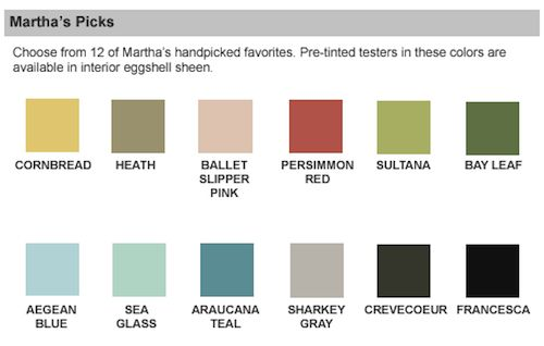 Martha stewart paint sensational color paint brand guide - Home depot exterior paint color chart ...