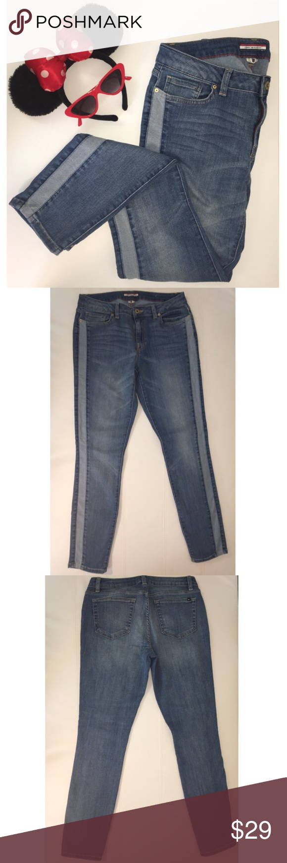 e309918e Tommy Hilfiger Side Striped Skinny Jeans Tommy Hilfiger Side Striped Skinny  Jeans size 8. Great condition. Trendy, mini logo on back pocket.