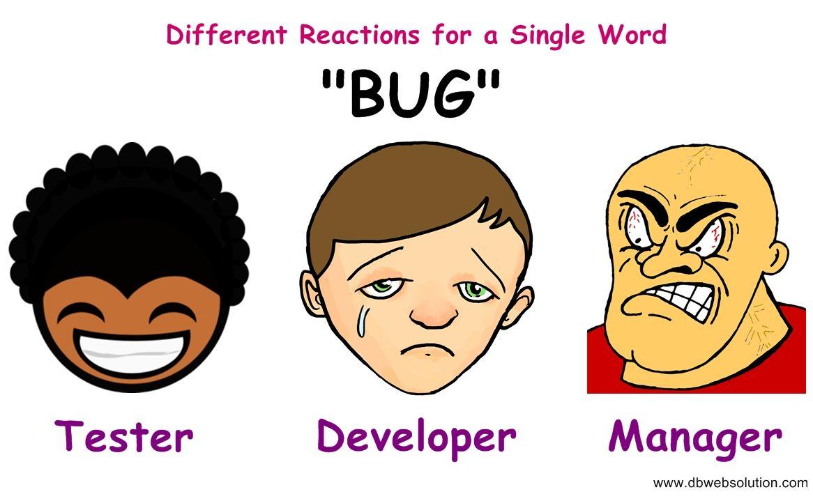 "Different Reactions for a single word ""BUG""  #BUG #Developer #Tester #Manager #DeveloperTesterFight #Funny"