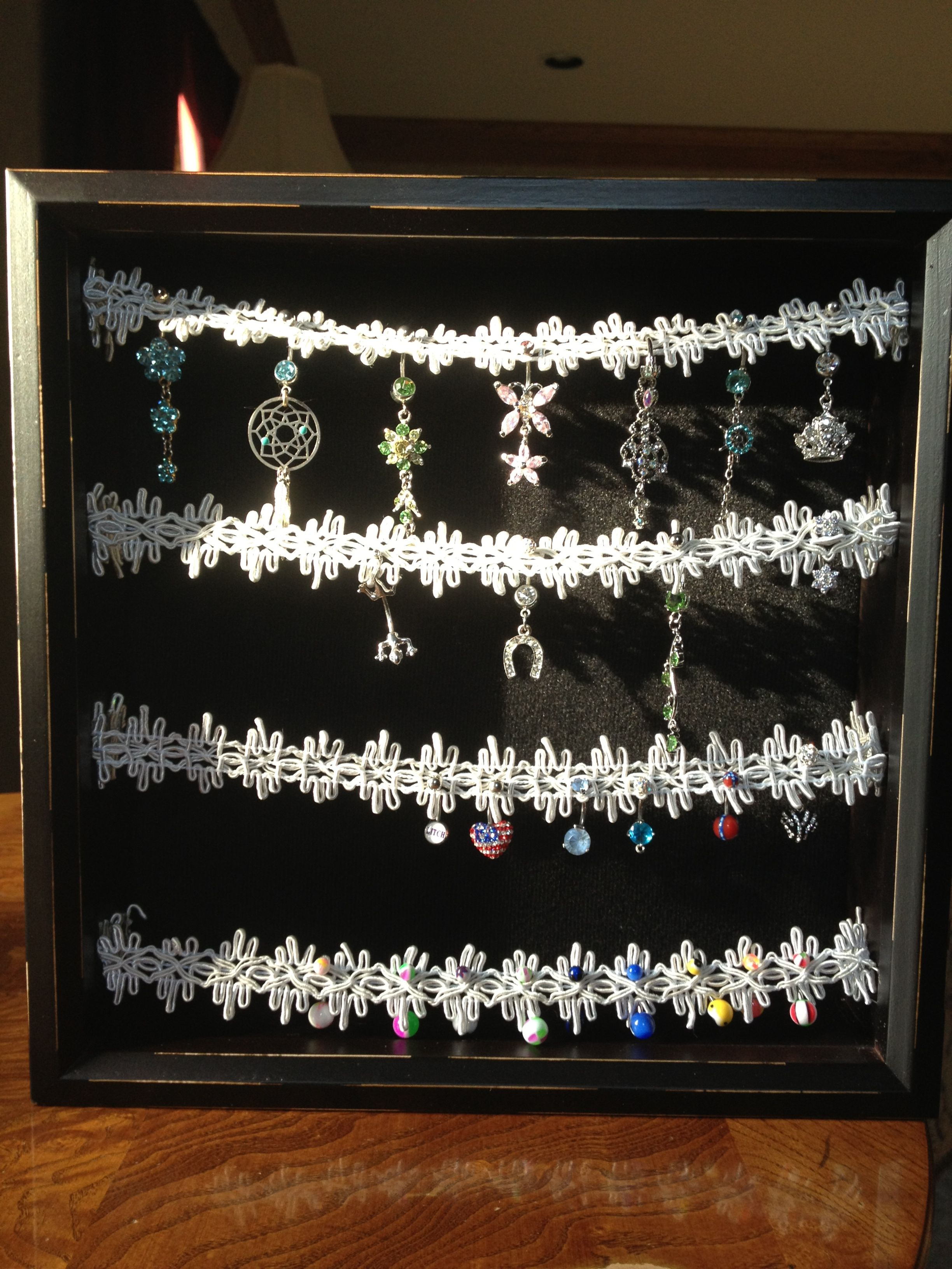 1 Black Tray 50 Space White Charm Ring Body Jewelry Display