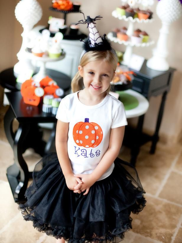 This theme would be perfect for a birthday party, especially for kids whose birthdays fall near Halloween. A personalized shirt and pettiskirt make an adorable outfit for the birthday girl. Advertisement
