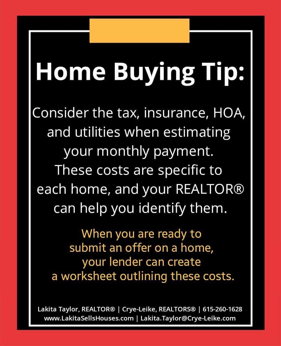Tuesday Home Buying Tip Realtorlakita Nashvillerealestate Cryeleike Homebuyingtips Home Buying Tips Nashville Real Estate Home Buying Process