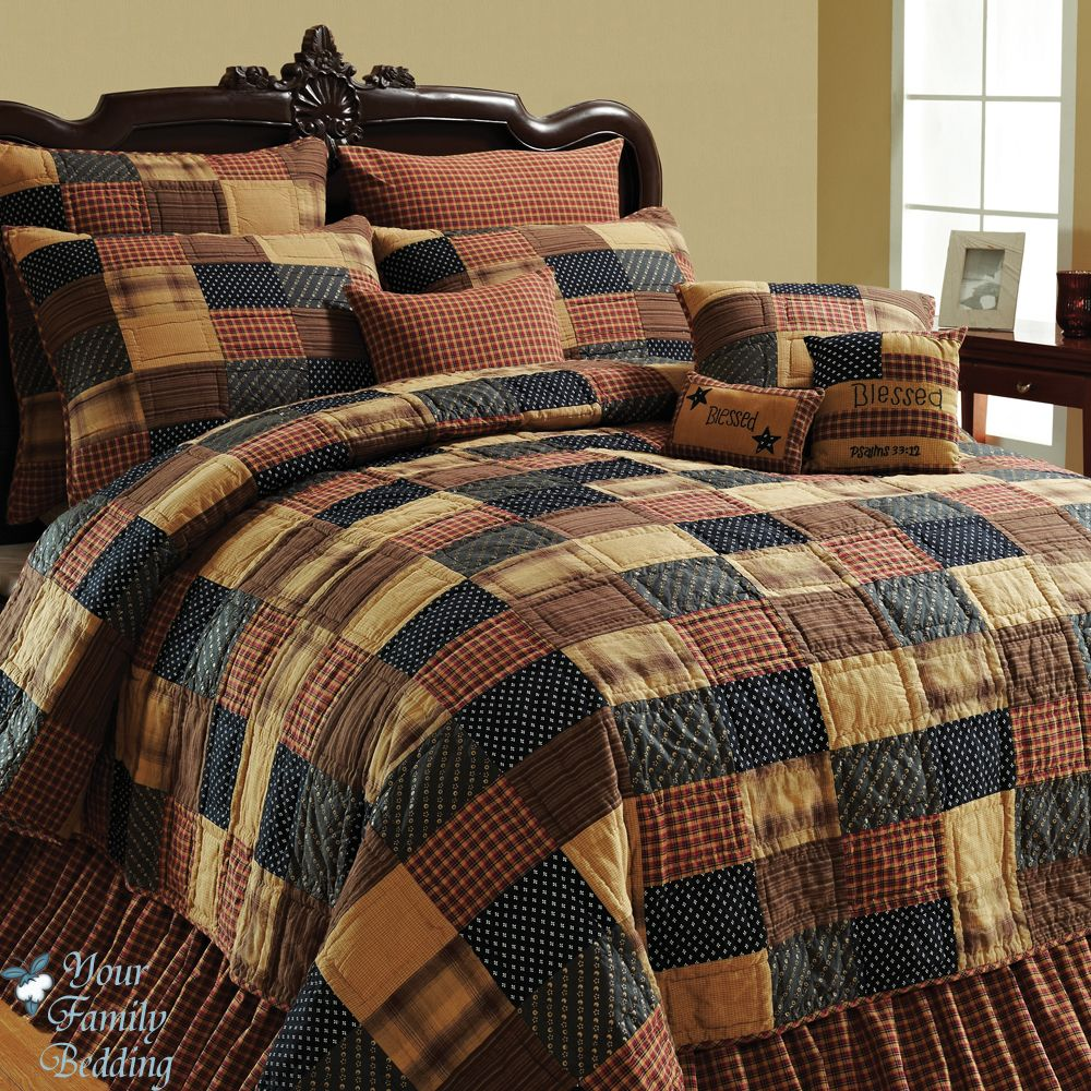 American Brown Twin Queen Cal King Size Patchwork Quilt