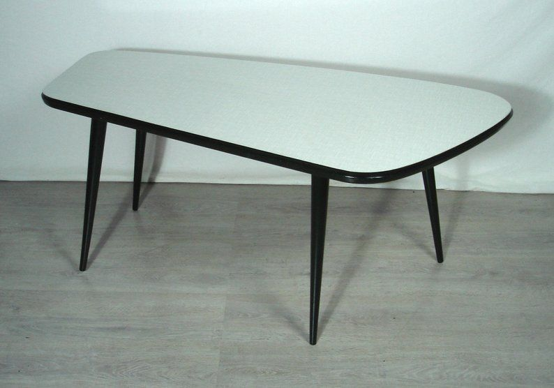 50s 60s Large Coffee Table Freeform Shape By Ilse With Formica