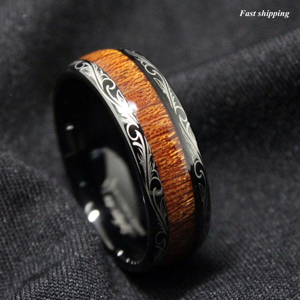 Details about Black Tungsten carbide Ring Koa Wood Inlay