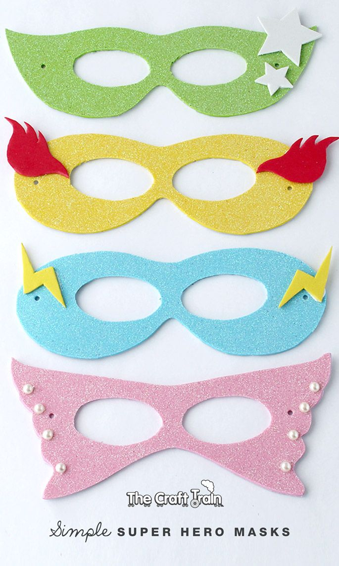 Simple super hero masks with printable template art fun for Superhero mask template for kids