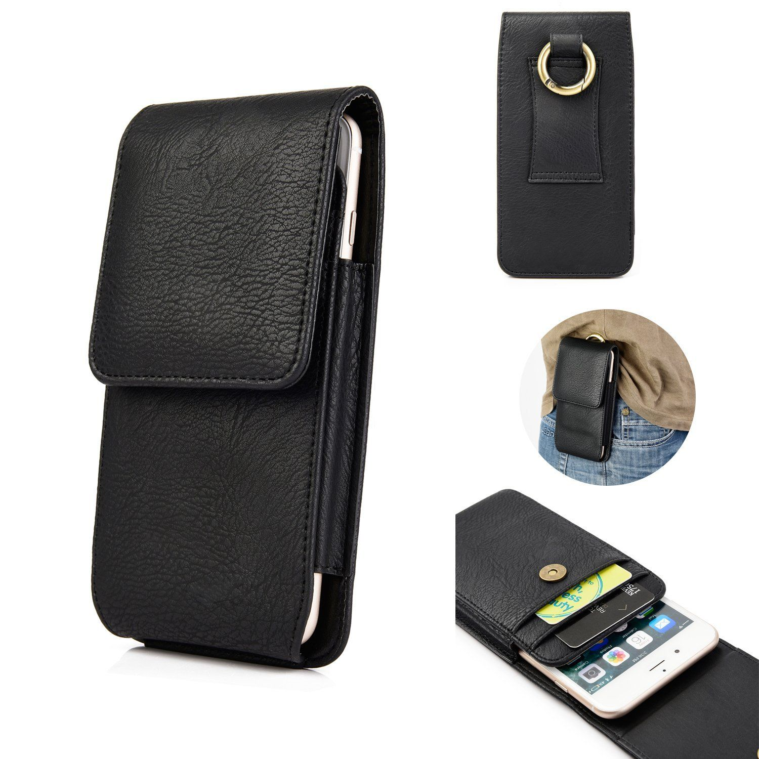 8b5ca3fe5 iPhone 7 6S 8 Belt Clip Holster, kiwitatá Vertical Premium Genuine Leather  Carrying Case Magnetic Closure Pouch with Belt Loop and Card Slots for 4.7  inch ...