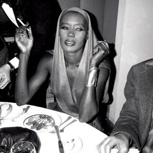 Grace Jones wearing a Halston dress and an Elsa Peretti cuff
