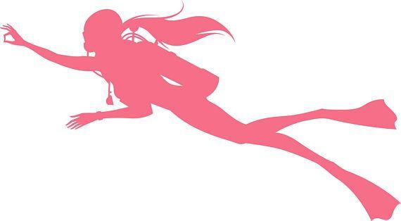 c99e49e74b27e Female SCUBA DIVING Woman diver Decal  Premium vinyl decal for Female SCUBA  Divers! Detailed