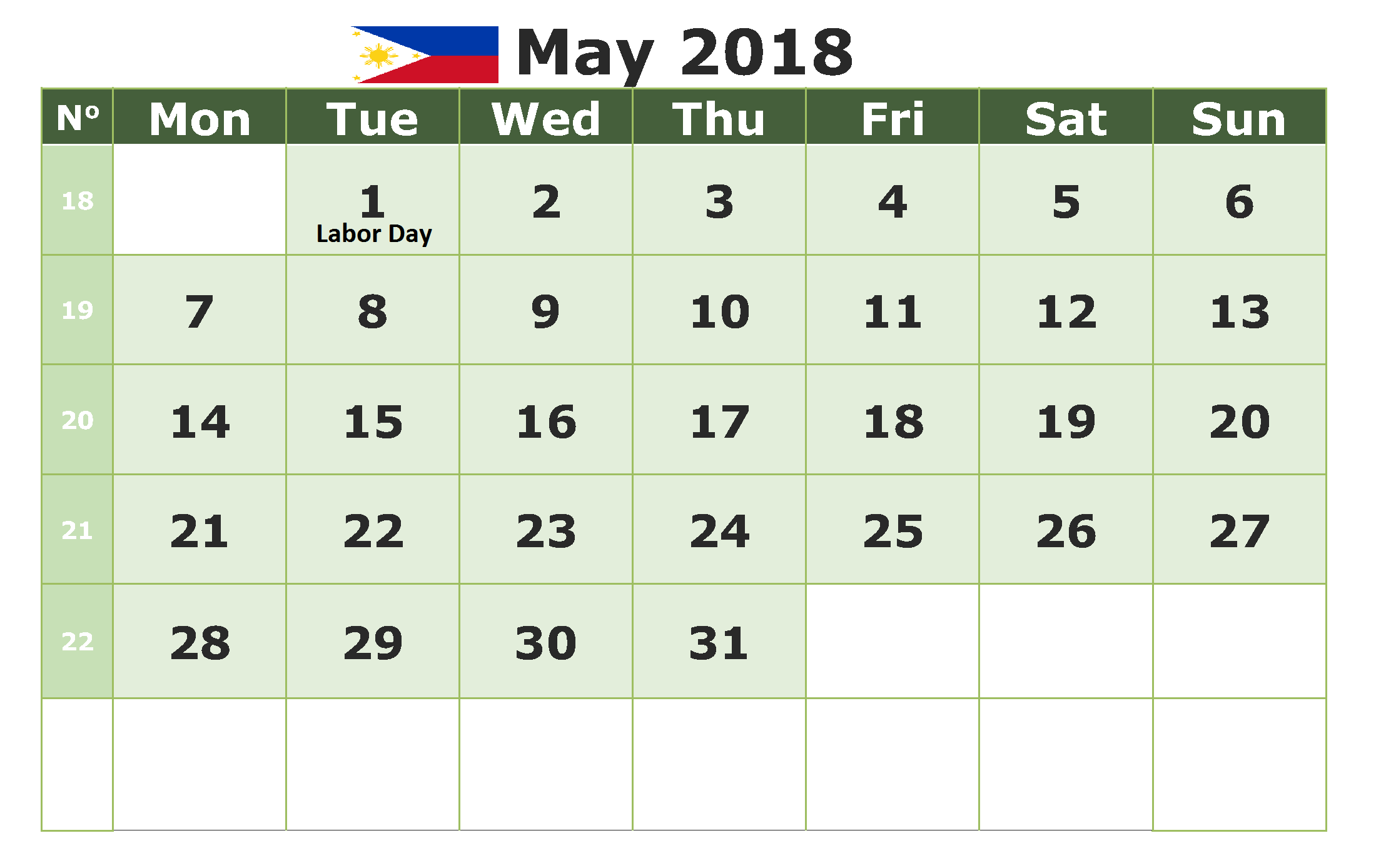 may 2018 philippines calendar with holidays