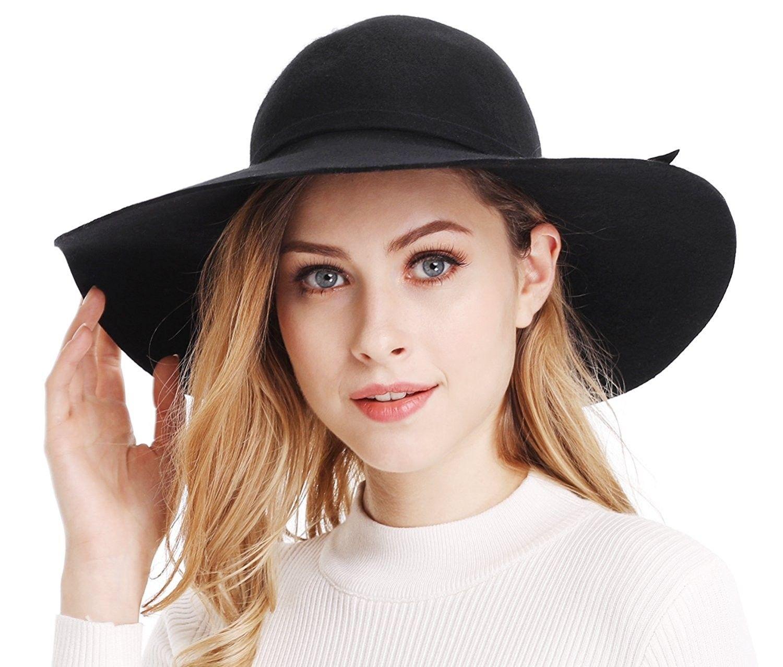 a9e7dd1ab33 Women s Wide Brim Wool Ribbon Band Floppy Hat - Black - C911N7Q029P  Hats   Sun