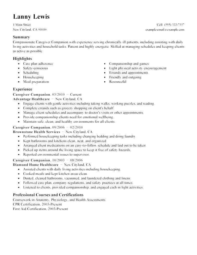 75 Beautiful Photos Of Sample Resume for Caregiver Canada