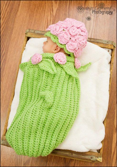 Rose Cocoon Crochet Pattern pdf 120B | Häkeln, Babys und Häkeln für baby