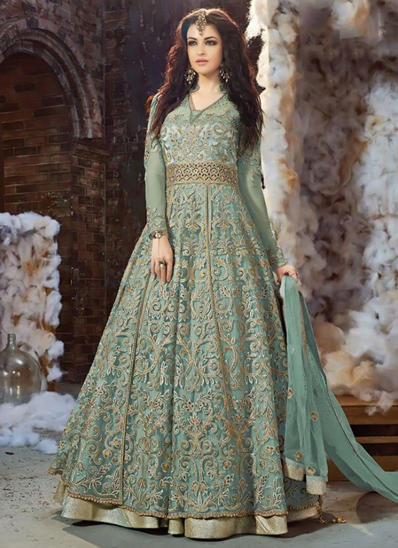 24ef01ee64d Buy Aqua Green Net Layered Anarkali Suit online from the wide collection of  anarkali-suit. This Green colored anarkali-suit in Net fabric goes well  with any ...