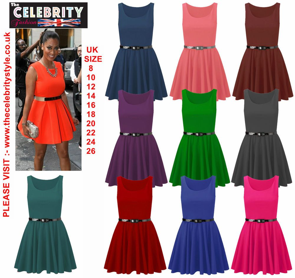 Womens Belted Sleeveless Flared Franki Short Party Ladies Skater Dress  Size16-26 f20f331cd