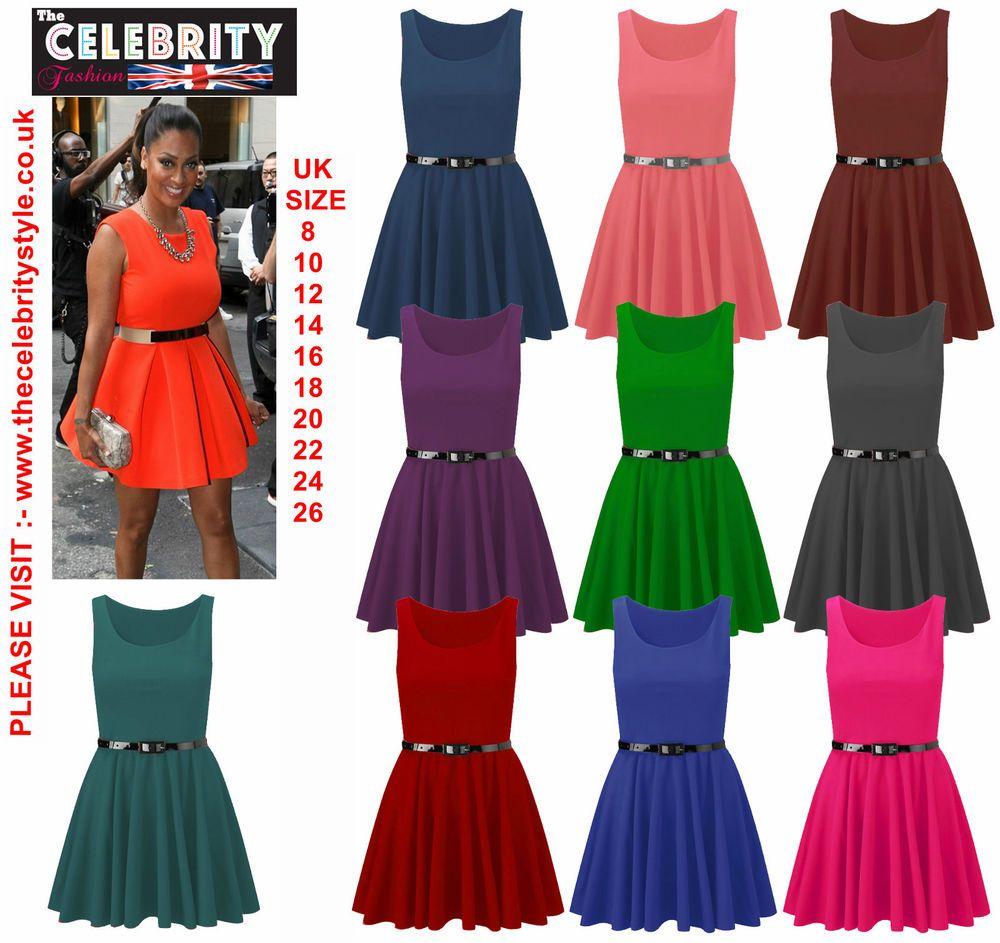 b3ee1e2b498 Womens Belted Sleeveless Flared Franki Short Party Ladies Skater Dress  Size16-26