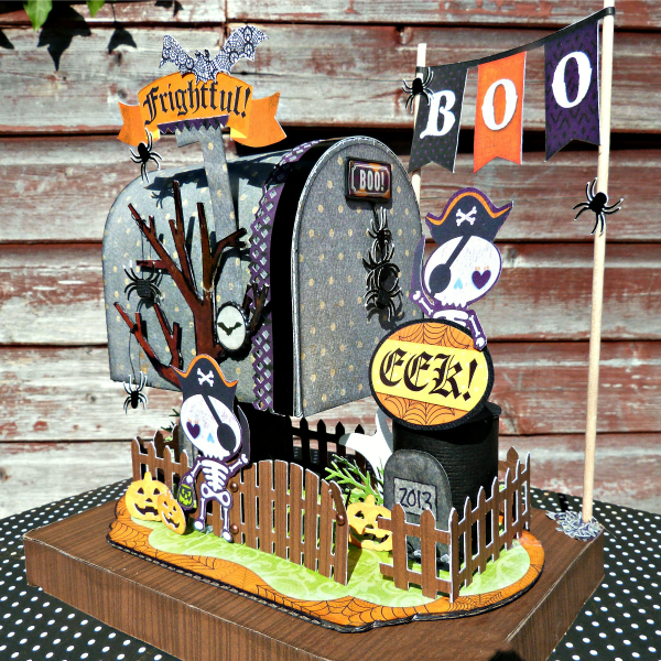Halloween Mailbox featuring Fright Delight from Bo Bunny - Scrapbook.com- halloween home decor made with the Fright Delight collection from Bo Bunny