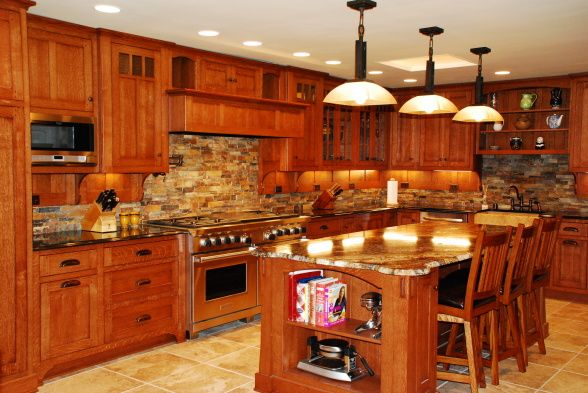 mission oak kitchen cabinets i like the colors here but would not use this back splash 23419