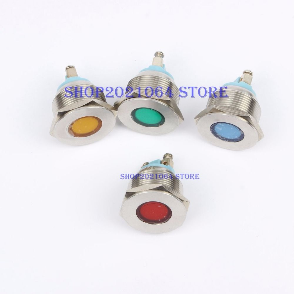Led Metal Indicator Light 22mm Flat Round Signal Lamp Light 3v 6v 12v 24v 220v Screw Connect Red Yellow Blue Indicator Lights Yellow Blue And White Lead Metal