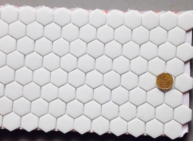 Mosaïque pâte de verre hexagone blanc plaque - Achat de mosaïque - mosaique rose salle de bain