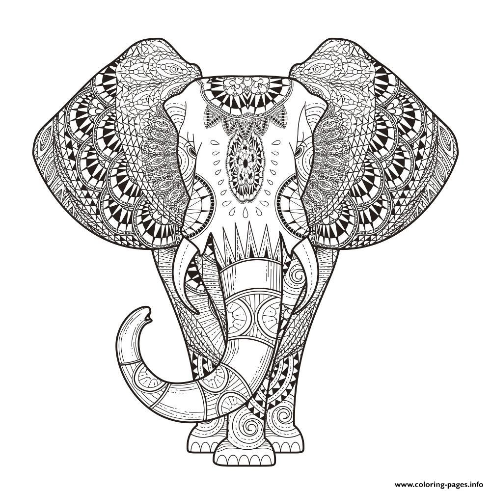 Anti stress colouring pages for adults - Print Elephant For Adult Hard Difficult Zen Anti Stress Animal Coloring Pages