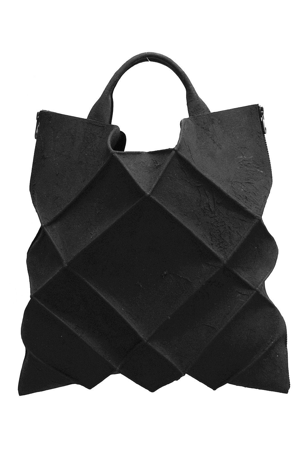 Kagari Yusuke Black Leather Putty Geometric Tote Bag Unconventional