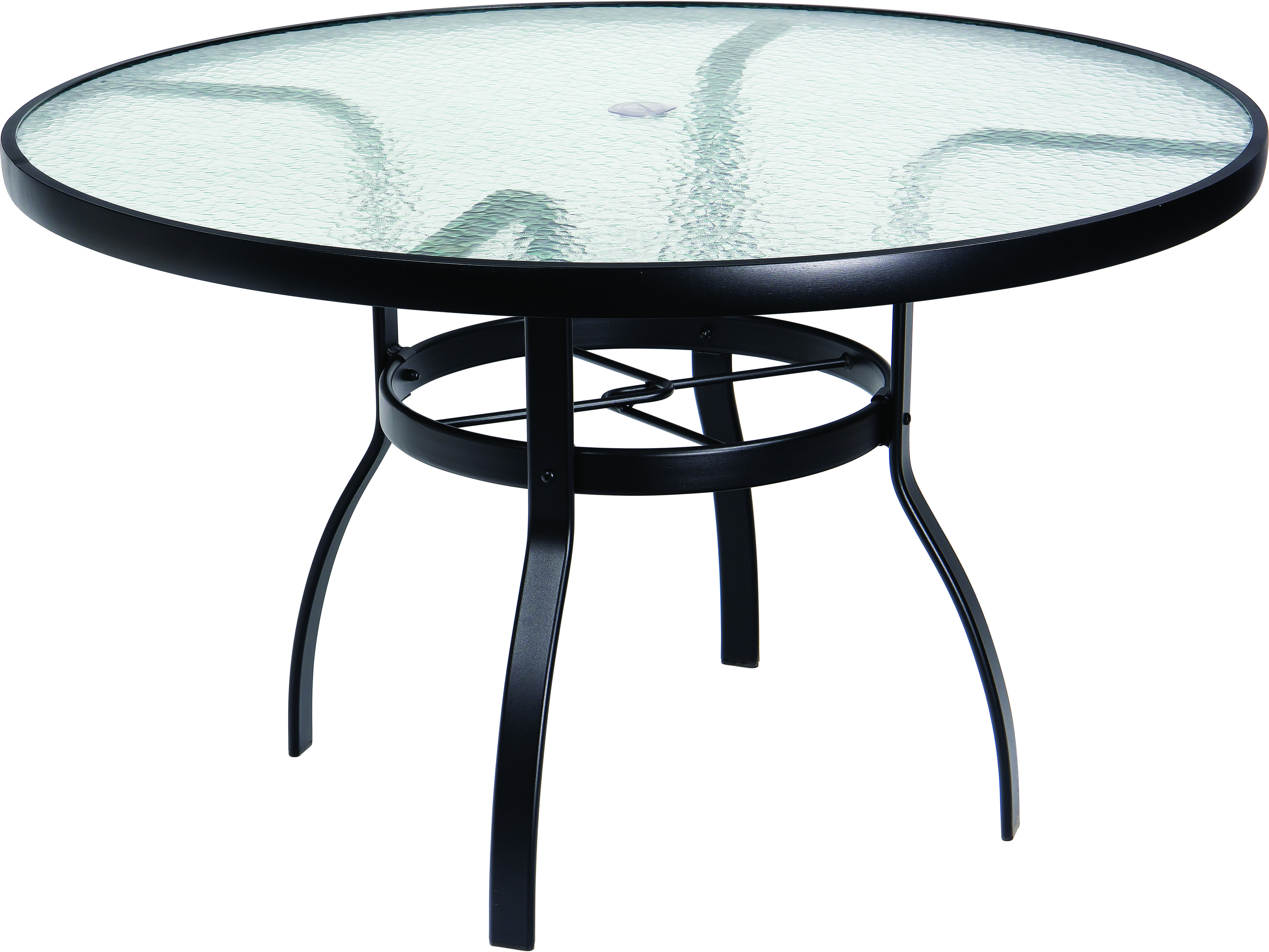 Woodard Aluminum Deluxe 48 Wide Round Obscure Glass Top Table With Umbrella Hole Glass Top Table Round Outdoor Table Metal Table [ jpg ]