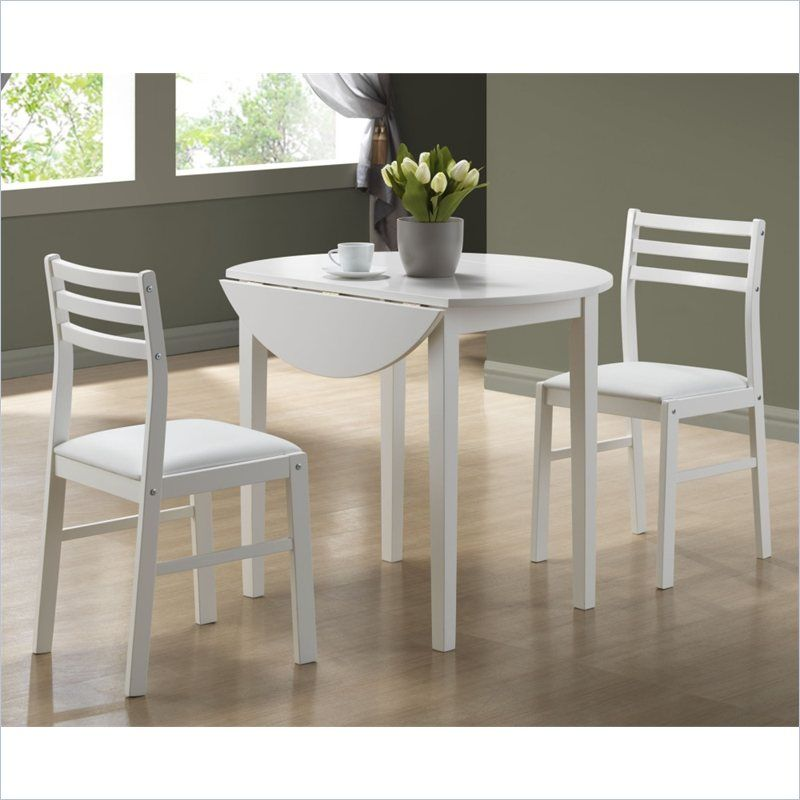 "3 Piece Dining Set With 36"" Diameter Drop Leaf Table In White New 3 Piece Kitchen Table Set Review"