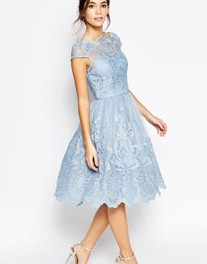 856df5c6f56 Chi Chi London Premium Lace Midi Prom Dress with Bardot Neck
