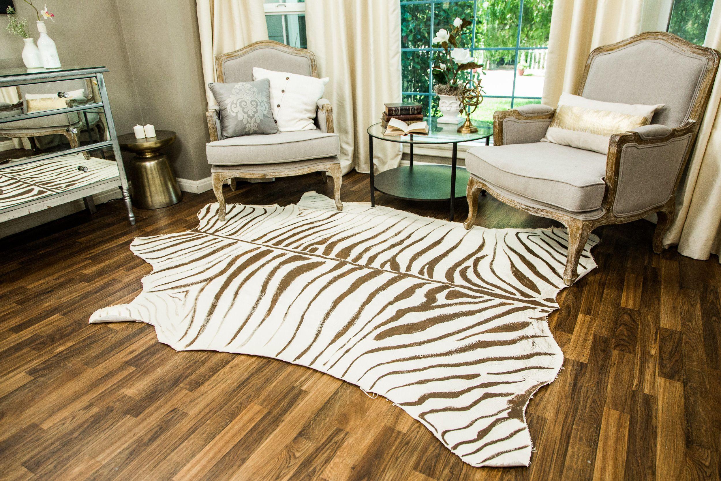 DIY Faux Zebra Rug - Home & Family   Faux zebra rug, Zebra ...